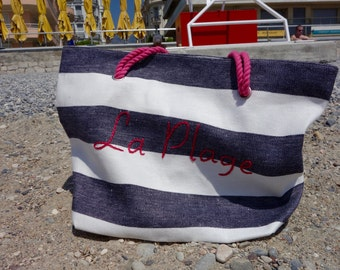 "Tote bag embroidered ""The beach"" linen, Made in Paris, very limited Edition striped / Linen Beach Bag"