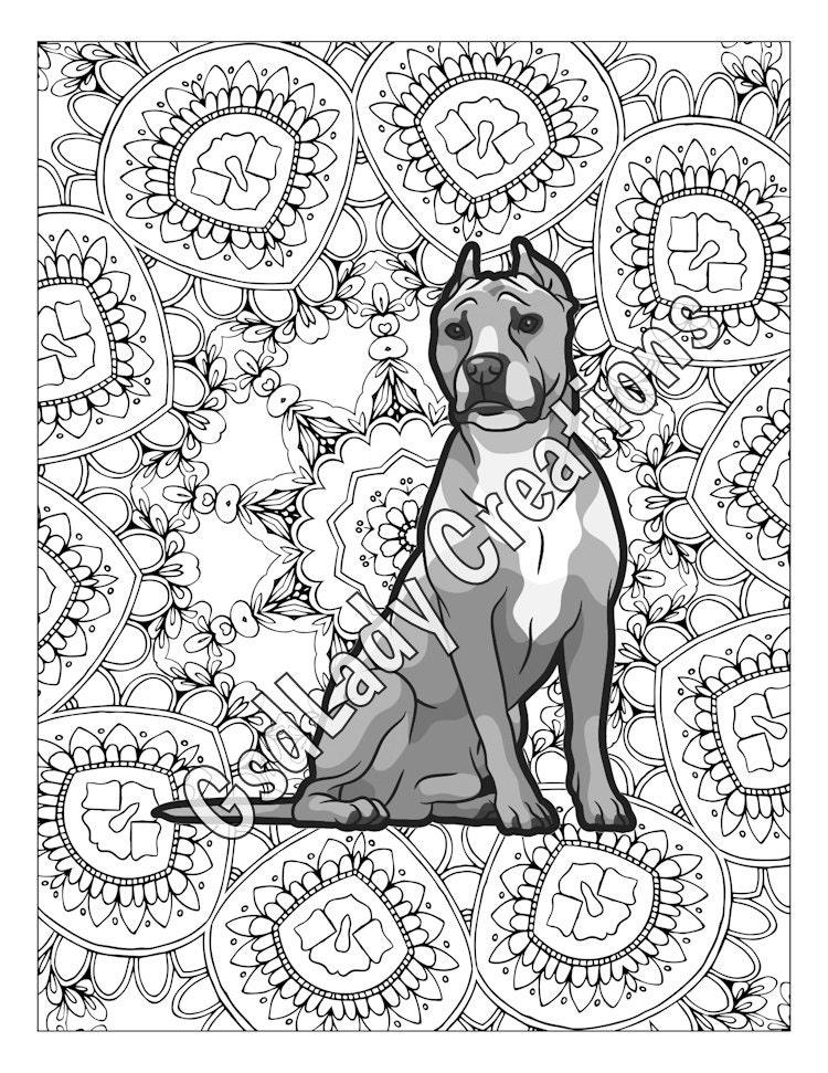 greyscale coloring page american pit bulls mandala coloring dog art digital artwork