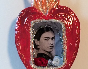Shrine - Miniature Red Copper Heart -  Young Frida