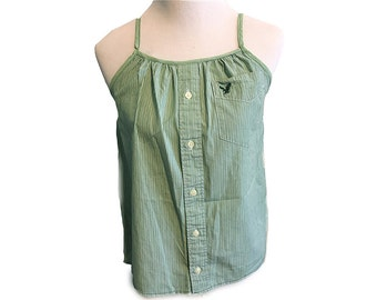 Cotton Shirt // Mint Green & White // Upcycled Dress Shirt - S/M
