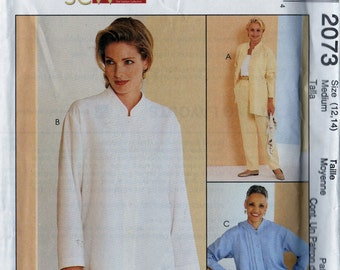 McCalls 2073 Sewing Pattern Womens Long Sleeve Shirt Mandarin collar, side slits and Pull On Pants Sz. 12, 14 Uncut