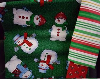 Snoman on Green Pillowcase Kit