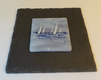 Fused Glass Abstract 'Sailing' Art mounted on Slate
