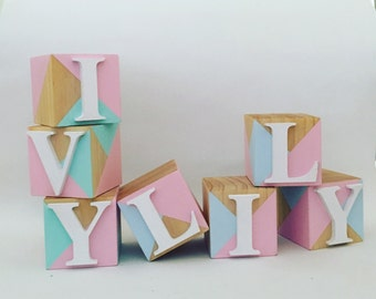 Personalised Geo Name Wood Blocks
