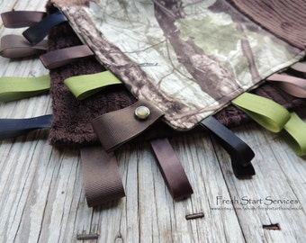 Camo Blanket, Ribbon Sensory Blanket, Minky Blanket, Taggie, Lovey