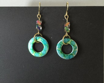Alcohol ink metal washer earrings