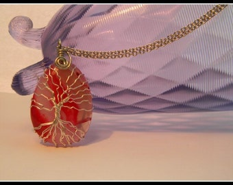 Tree of Life jewelry-Tree of Life necklace-wire wrapped pendant-red agate-copper wire wrapped tree of life-womans gift-TOL105