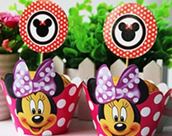12 Sets Minnie Mouse cupcake toppers and wrappers Minnie Mouse party decoration