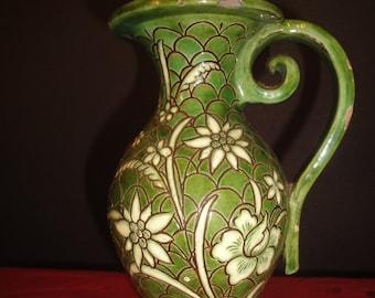 large middle eastern green pattern jug