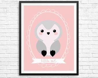 Girl Owl Nursery Print, Pink and Grey Nursery Wall Art, Owl Nursery Decor, Girls Printable Wall Art, Instant Download Nursery Wall Art