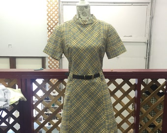 Vintage 1960s Yellow Plaid Dress