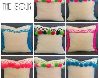 Tunisian cream neon pom pom pillow 16x16