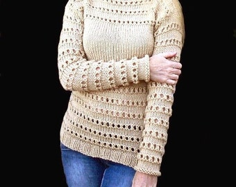 Beige Sweater. Hand knit sweater.Woman sweater. MADE TO ORDER