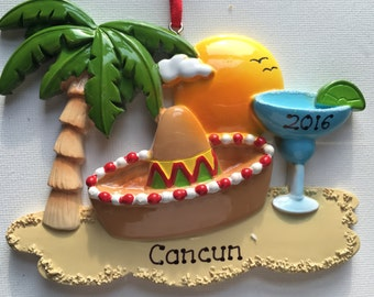 Personalized Christmas Ornament Cancun, Mexico , Hawaii, Honolulu,Sombrero, Vacation, Wedding Favor Gift