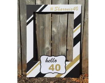 Birthday party elegant giant photo booth frame prop -  with glitter black, gold and hello 40 themed, customized with hashtag message