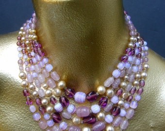 Dramatic Pastel Glass Beaded Necklace c 1960