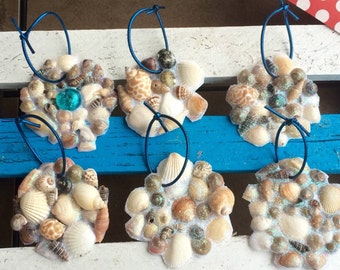 Set of 6 Handmade Seashell Ornaments with Blue String