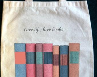 Love Life Love Books canvas tote bag