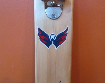 Washington Capitals Wall Mounted Wooden Magnetic Bottle Opener with cap catcher bottle cap catcher opener