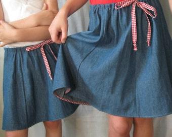 Denim adjustable girl's skirt