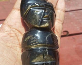 Gold Sheen Obsidian - Carved Totem