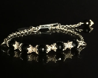 Women's Sterling Silver Chain And Onyx Bracelet