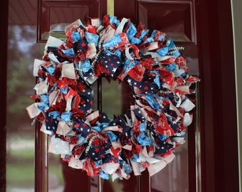 Fourth of July Inspired Fabric Wreath