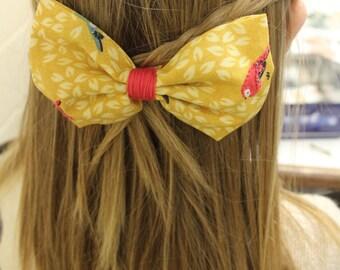Yellow Blue/Pink Bird Hair Bow
