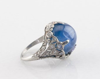 31.25 ct Ceylon Star Sapphire & Diamond Antique Platinum Ring, Unheated, GIA Certified