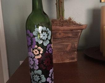 Painted Wine Bottle Vase