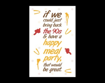 90s McDonald's Happy Meal Party Print