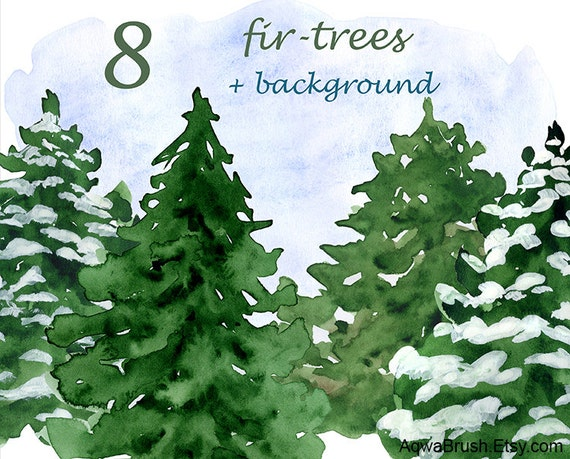 Watercolor Fir-trees Clipart Commercial Use Christmas New Year