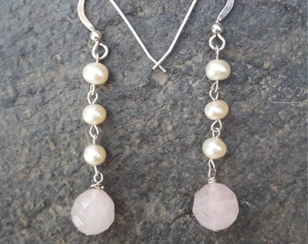 Rose Quartz & Fresh Water Pearl Earrings
