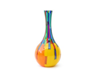 Orange and Yellow long vase with Blue