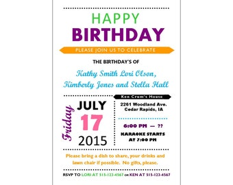 Whimsical Personalized Printable Birthday Invitation