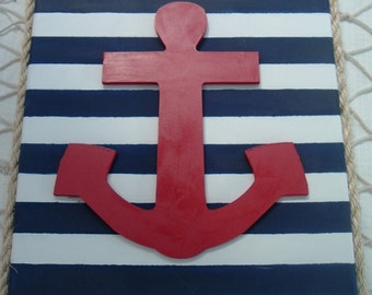 "Nautical Rope Framed Red Wood Anchor Navy White Stripes Canvas 11 1/2"" x 14 1/2"""