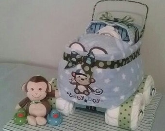 Sleeping Baby in Carriage Diaper Cake