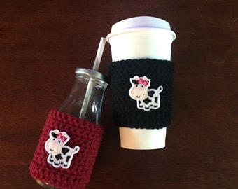 SALE---Cow cup cozy, coffee cup cozy, reusable coffee sleeve, mason jar cozy