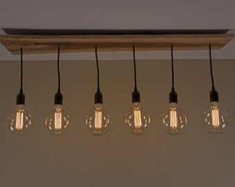Simple 6 Straight Pendant Hanging Edison Bulb Lighting Chandelier with Live Edge Walnut Medallion