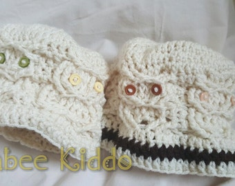 Crochet Cable Owl Hat