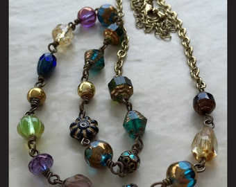The EVE COLLECTION-handmade-mixed beads -czech beads- jewel tones-necklace -multicolor-boho-classy-women and teens