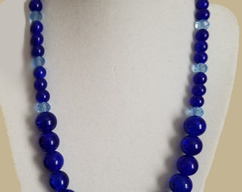Blue Necklace with Glass and Crystal Beads