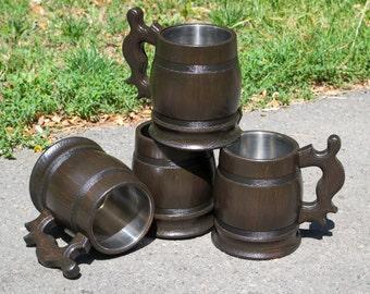 Set of wooden beer mugs, 4 wooden mug, beer mug, groomsmen gift, set of mugs, wooden mug with metal inside