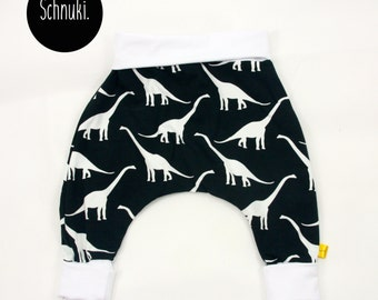 Dinosaur baby harem pants,baby trousers,newborn pants,black and white unisex baby clothes,cotton clothes, Diplodocus pants