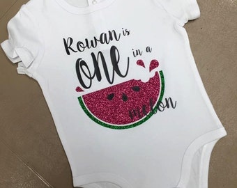 Vinyl bodysuit, Personalized Baby bodysuit, Baby Outfit, Baby Gift, First Birthday, Watermelon Theme, Birthday shirt