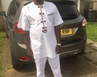 Pafric Designs Men White Shirt Top and Bottom with Polish Cotton and Africa Print