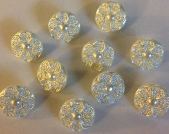 10 x Small Cream Pearl Flower Buttons With a Shank. Size approx. 13mm