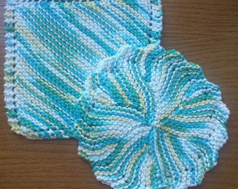 Handmade Knitted Dish Cloths set of 2