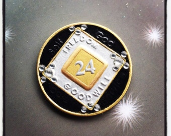 NA Medallion, Recovery Medallion in Black Gold and Silver, Custom Medallion, Recovery Gift for Sobriety Anniversary, NA Symbol