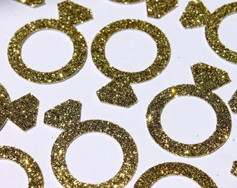 Gold Ring Confetti | Engagement Ring | Engagement Party Decor | Bridal Shower | Bachelorette Party | Wedding